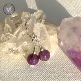 Classical Lepidolite Silver Earrings